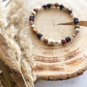 Bransoletka Boho kamienie naturalne i drewno